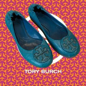 Tory Burch Ballet Flats Logo travel TEAL leather